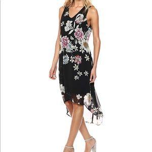 Karen Kane Hi-lo Black Floral Hem Dress